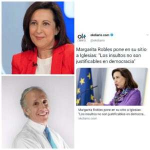 Eduardo Inda elogia a Margarita Robles por diferir de las palabras de Pablo Iglesias.