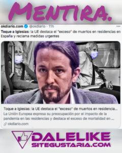 El medio de ultra derecha, «Ok Diario», tergiversa sobre la responsabilidad de Iglesias en las residencias.