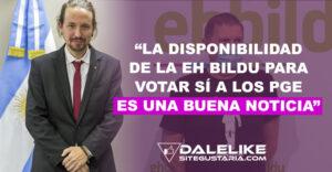 Iglesias señala el Sí de EH Bildu a los PGE refuerza el bloque de la investidura