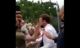 Así fue la bofetada que recibió Emmanuel Macron durante un viaje a Drôme (+VIDEO)